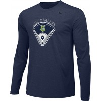 Stilly Valley Little League 13: Adult-Size - Nike Team Legend Long-Sleeve Crew T-Shirt - Navy Blue with Board Logo